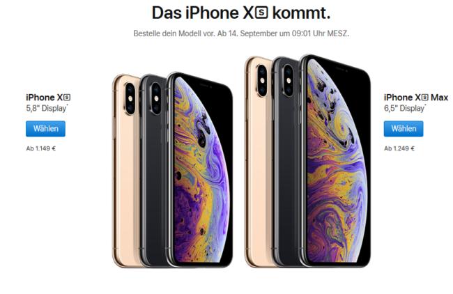 iPhone Xs und Xs Max Preise Bild Apple
