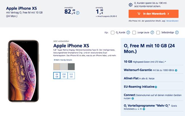 Apple Iphone Xs Max Mit O2 Free Tarif Und O2 My Handy Mobilfunk