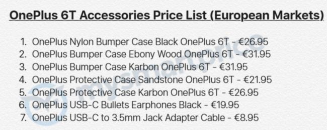 OnePlus 6T Zubehörliste Bild SmartPrice