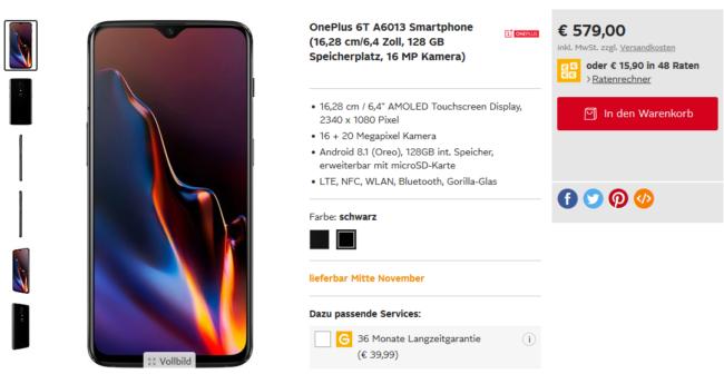 OnePlus 6T bei Otto