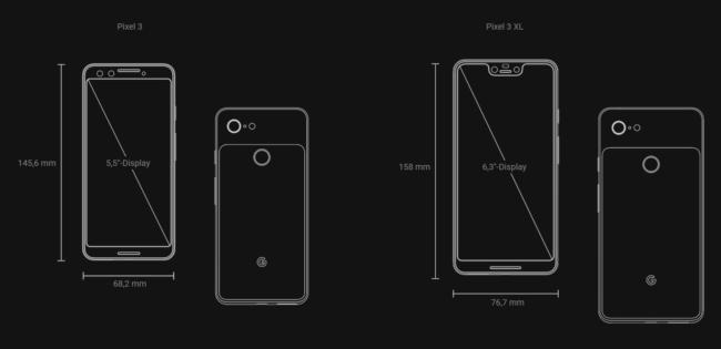 Pixel 3 und 3XL Maße
